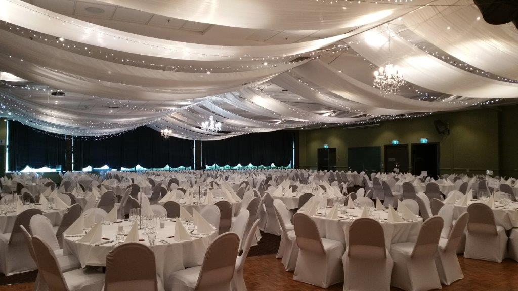 Marquee ceiling canopy white silks, crystal chandeliers - Grand Auditorium