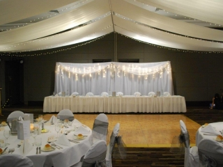 Marquee ceiling canopy chair covers smoke organza Pacific Bay Resort