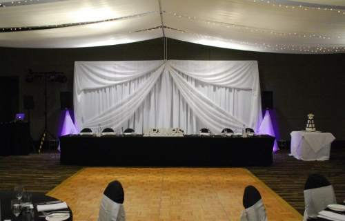 Marquee ceiling canopy black chair covers Pacific Bay Resort