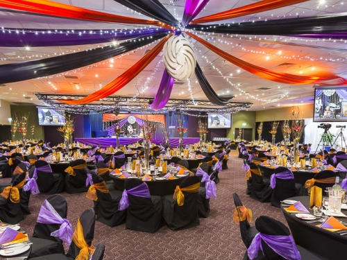 Star ceiling canopy orange black purple, bird of paradise centre table decoration Coffs Harbour Chamber of Commerce Business Awards Cex
