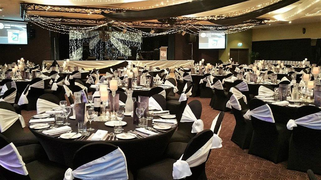 Star ceiling canopy black chair covers white side sash, Glass tulip centre pieces Cex