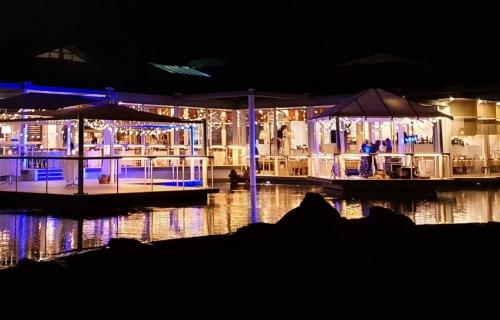Festoon Fairy light ceiling canopies Bay side Pacific Bay Resort