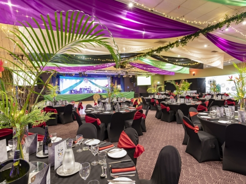 Marquee ceiling canopy, emerald green, black, purple, Golden cane bamboo fairy light table decoration Cex