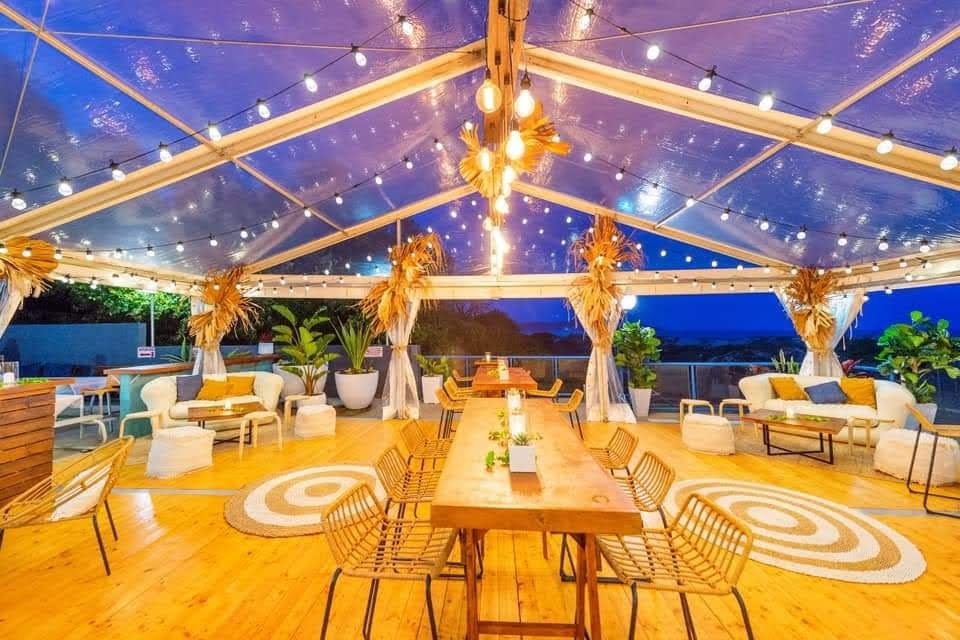 Marquee by the beach dried botanical floral arrangements bo ho cocktail style