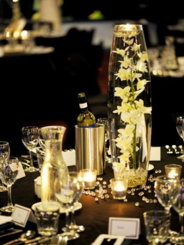Glass 60cm Cannon Vase + White Singapore Orchid