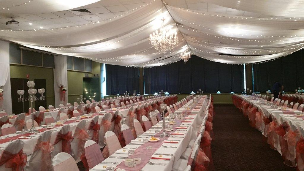 Marquee ceiling canopy, crystal chandeliers, 3 cup crystal orbs table decoration - Cex