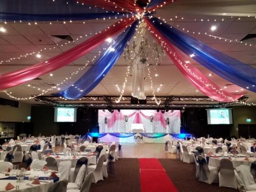 Star ceiling canopy blue & pink organza, Crystal chandelier