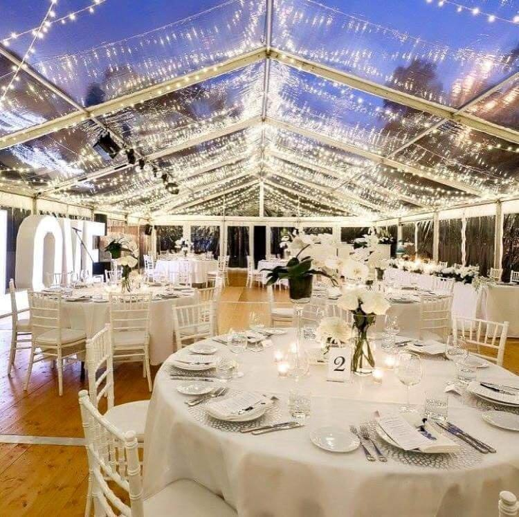 Marquee ceiling canopy fairy light Tiffany chairs
