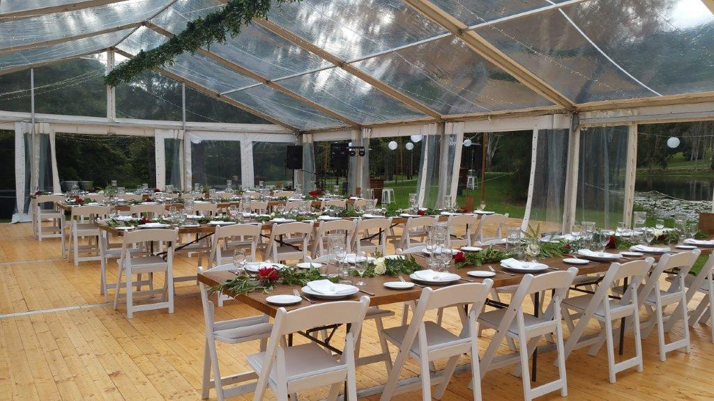 Marquee ceiling canopy fairy lights greenery timber topper tables, Malibu chairs