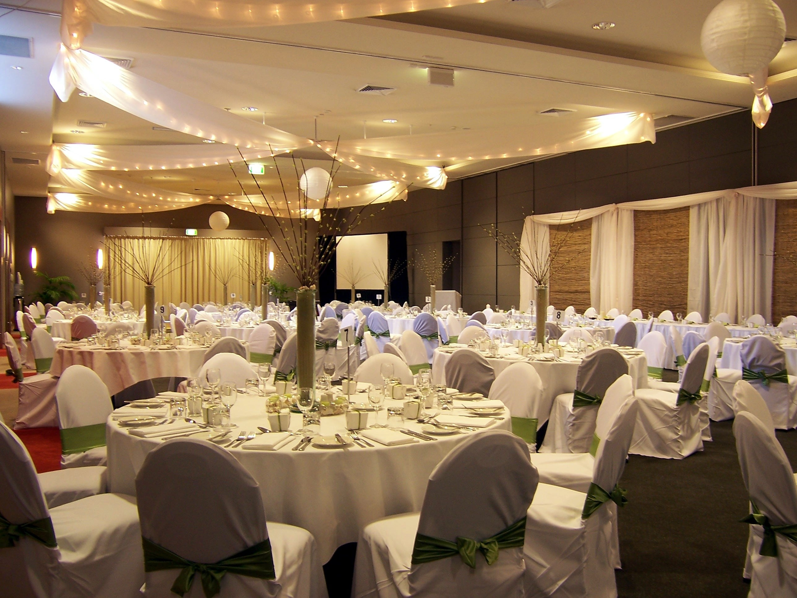 Star ceiling canopy lanterns chair covers bamboo backdrop Pacific Bay Resort