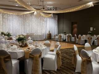 Star ceiling canopy chair covers burlap bows Pacific Bay Resort