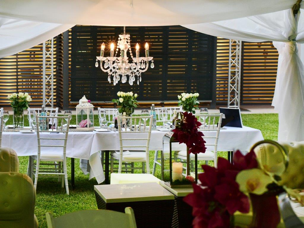 Marquee chandeliers Tiffany chairs