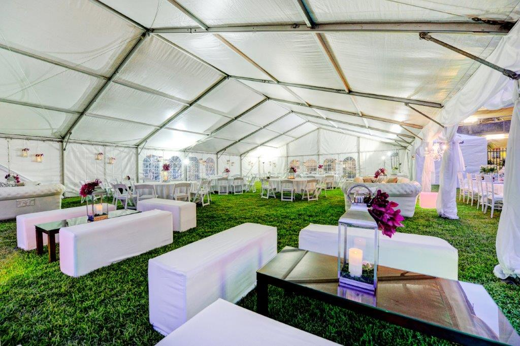 Marquee white ottomans 3 person, chesterfield lounges, white Malibu chairs