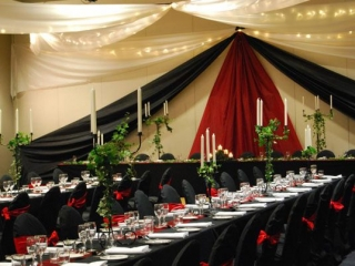 Star ceiling canopy black chair covers Medieval Pacific Bay Resort