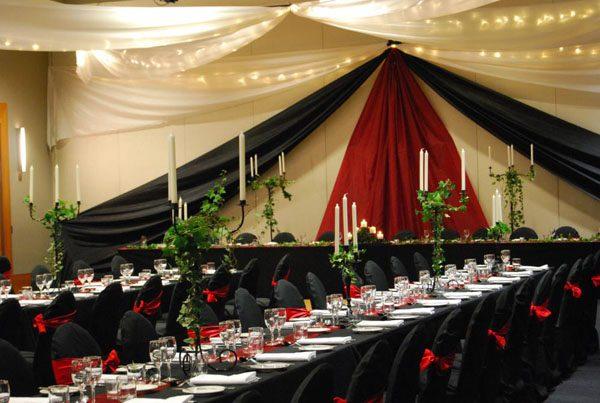 Medieval wedding bridal backdrop v feature black red novotel pacific bay resort coffs harbour 11964875654 o