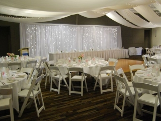 Marquee ceiling canopy Malibu chairs Pacific Bay Resort
