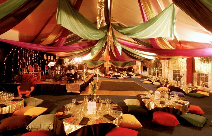 Marque ceiling canopy fairy lights Arabian nights silk fabrics + lanterns, floor cushions low tables