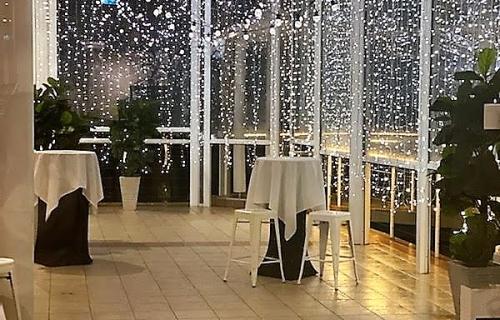 Bay side grill deck, Waterfall fairy lights, Ceiling canopy festoon & fairy lights - Pacific Bay Resort