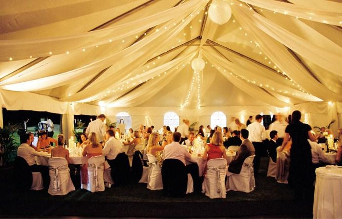 Marque ceiling canopy fairy lights silk fabrics + lanterns, chair covers + bows
