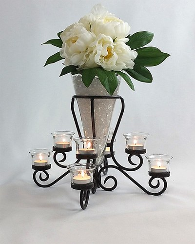 Candelabra black wrought iron tea light candle holders