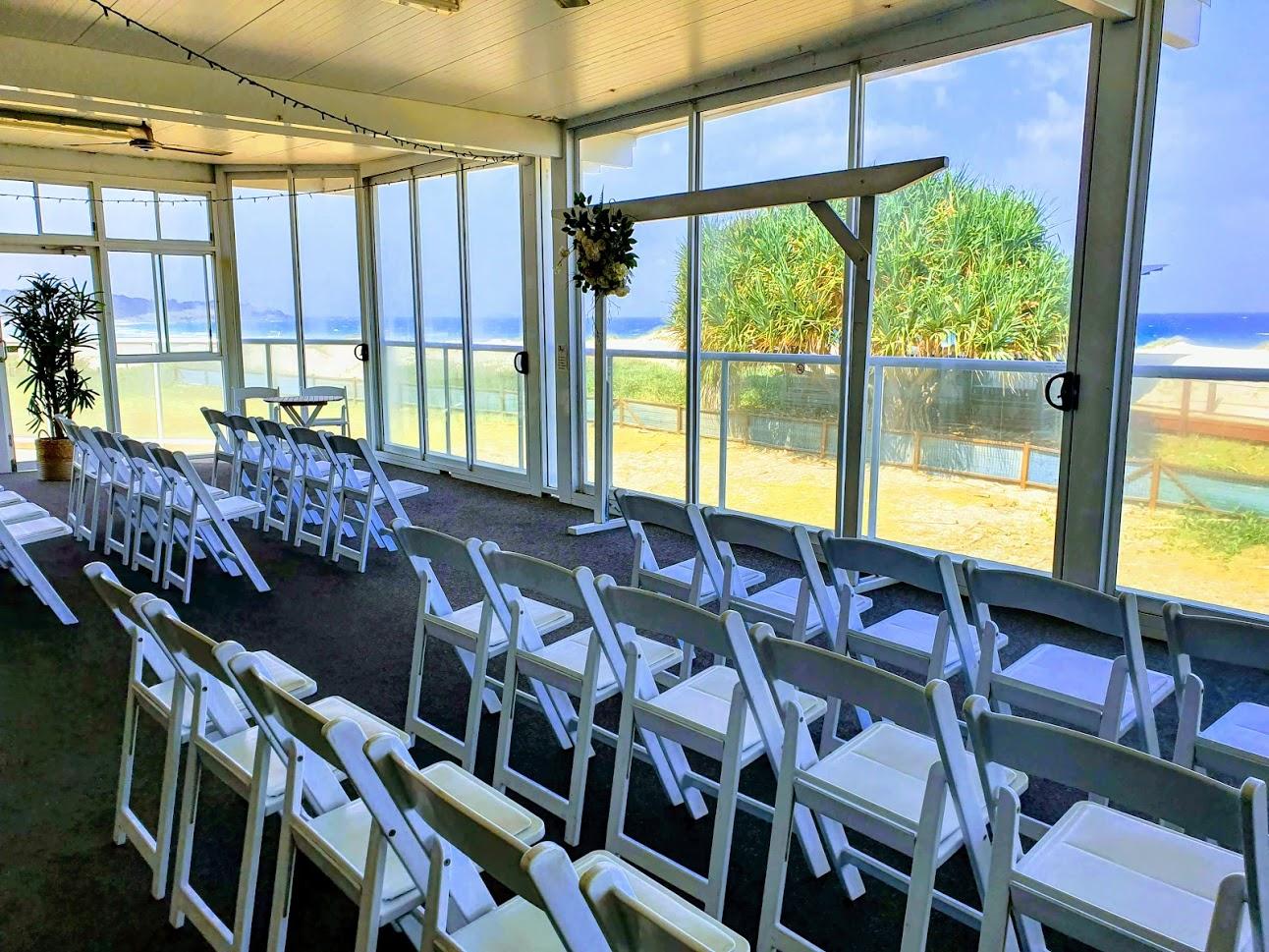 Wedding ceremony enclosed veranda wet weather option