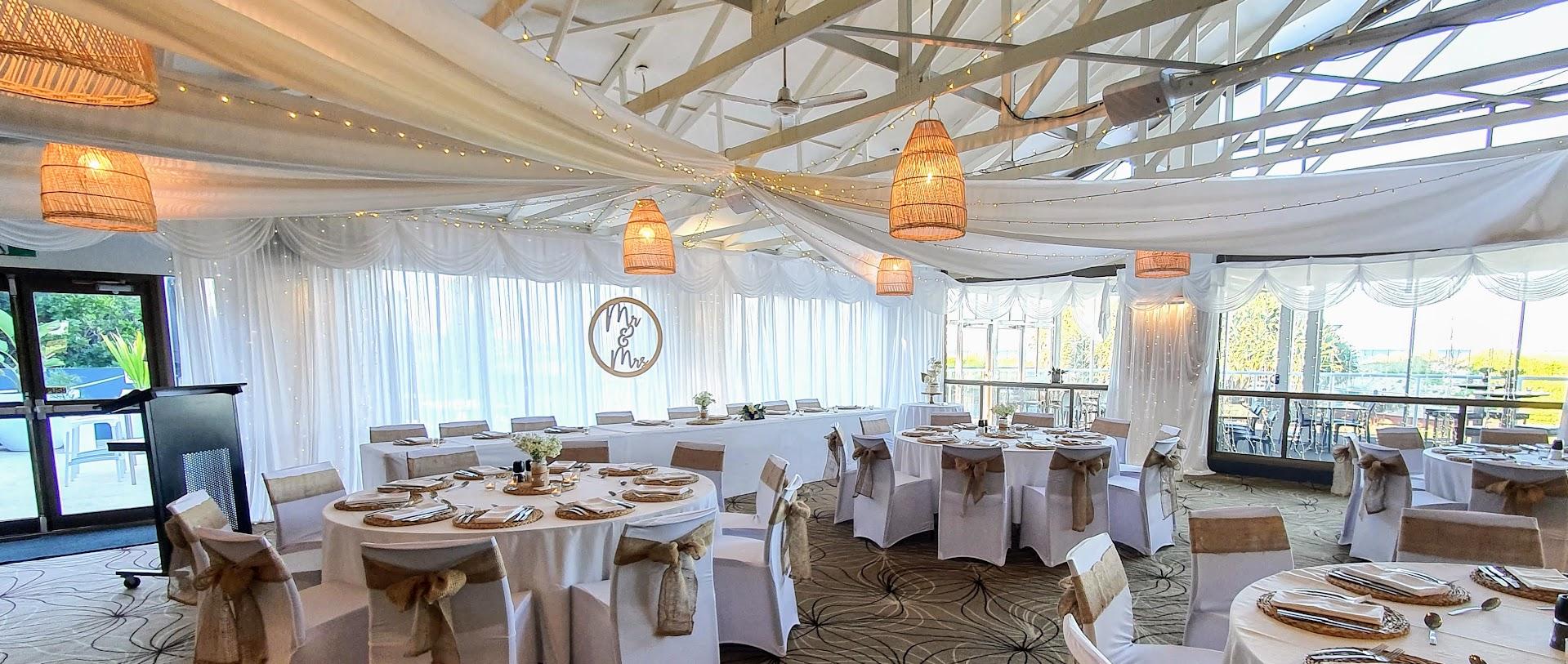 Ceiling Star fairy light + soft fabric,, chair covers burlap, full white satin backdrop, MR & MRS Sign