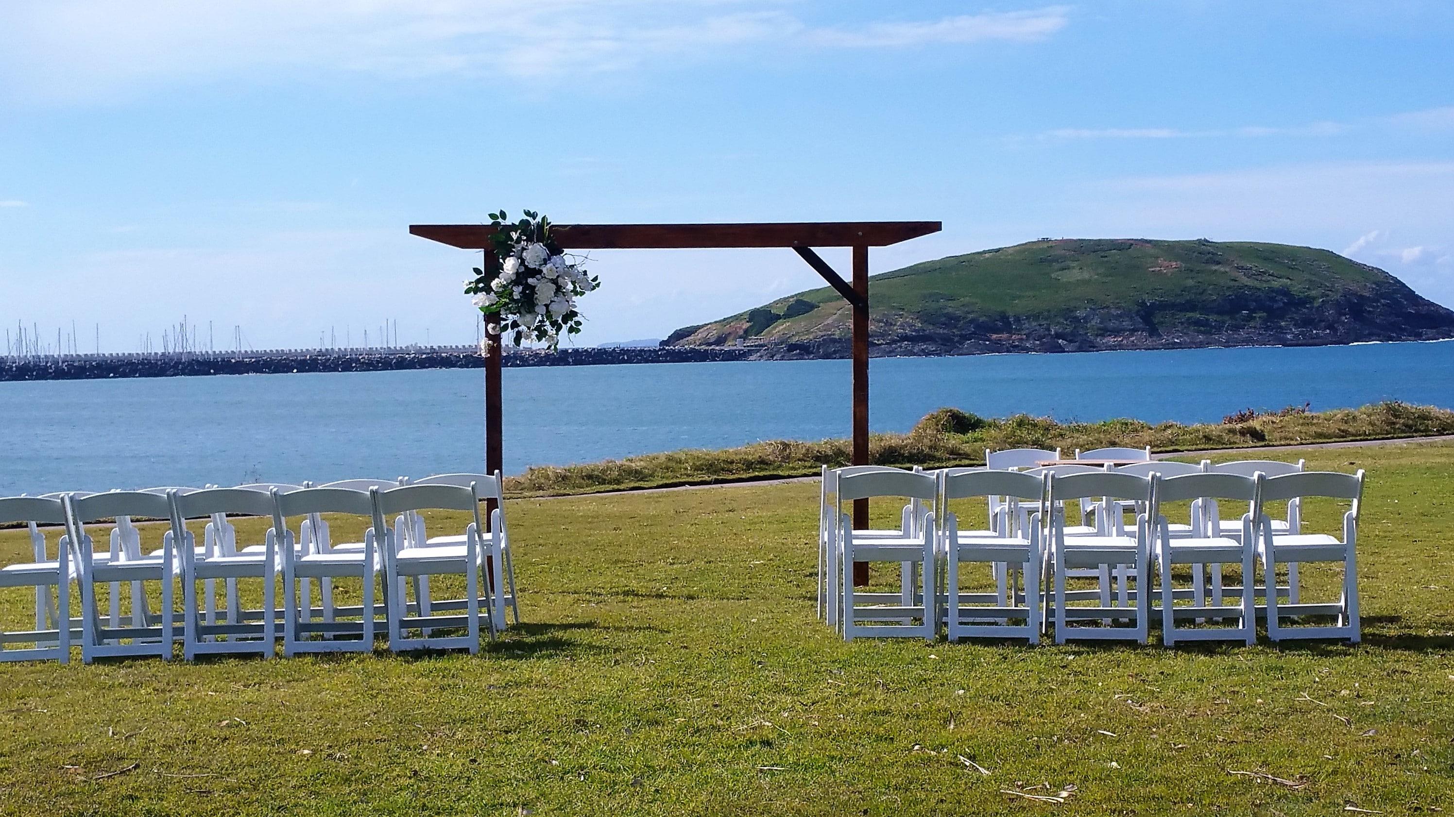Wedding ceremony Mutton Bird Island view