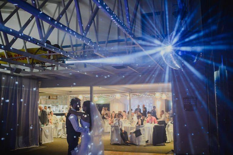 Mirror ball over the dance floor