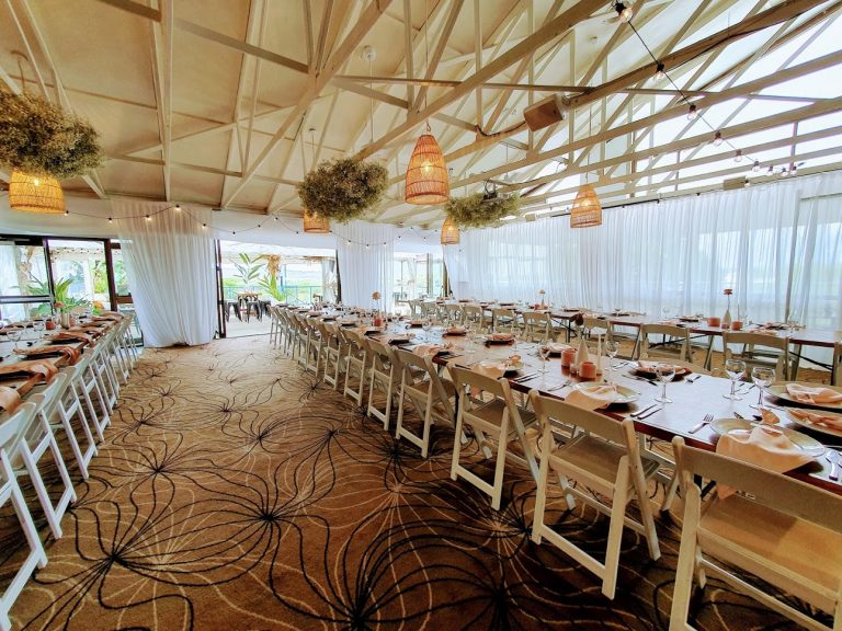 Northern Backdrop white satin frame  + Eastern white satin backdrop wall + white fabric friezes + Timber toppers + Malibu chairs