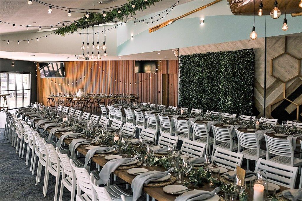 Woolgoolga surf bridal table festoon backdrop drape, guest &  bridal table timber topper + saw horse