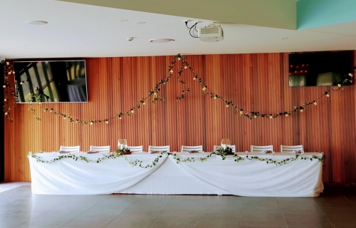 Woolgoolga surf bridal table festoon ivy backdrop drape, bridal table skirt, butterfly top drape + ivy garland