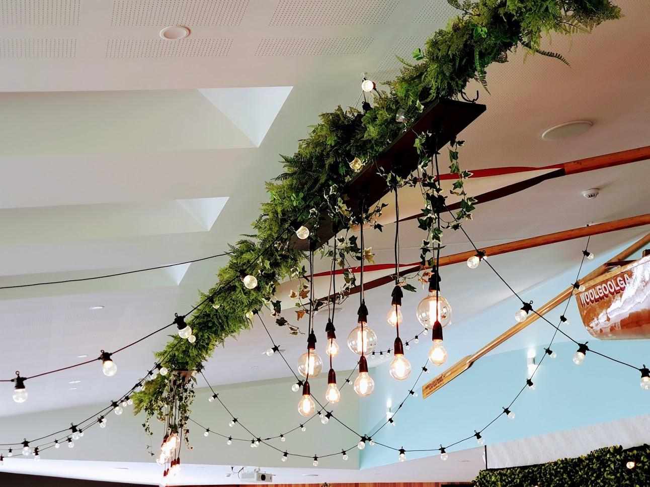 Woolgoolga surf ceiling Edison lighting chandelier, ivy & fern greenery